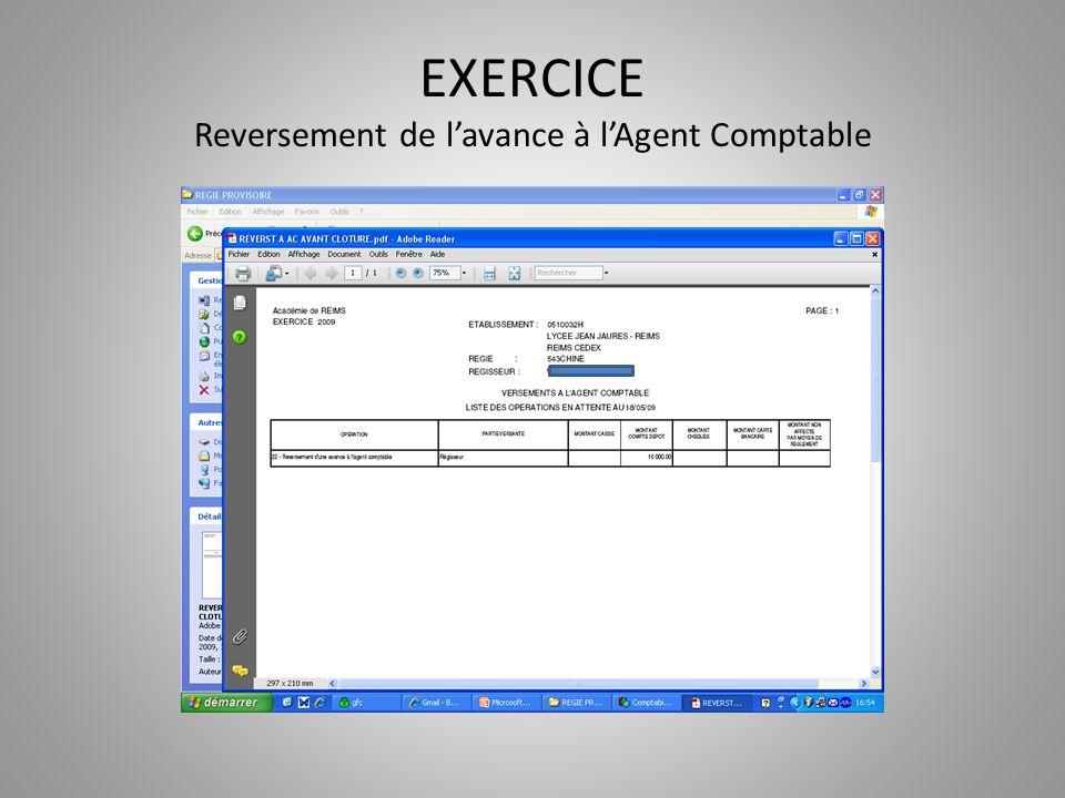 EXERCICE Reversement de l'avance à l'Agent Comptable