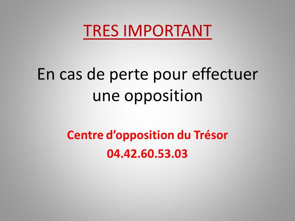 TRES IMPORTANT En cas de perte pour effectuer une opposition