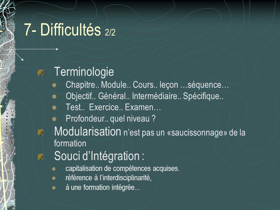 7- Difficultés 2/2 Terminologie