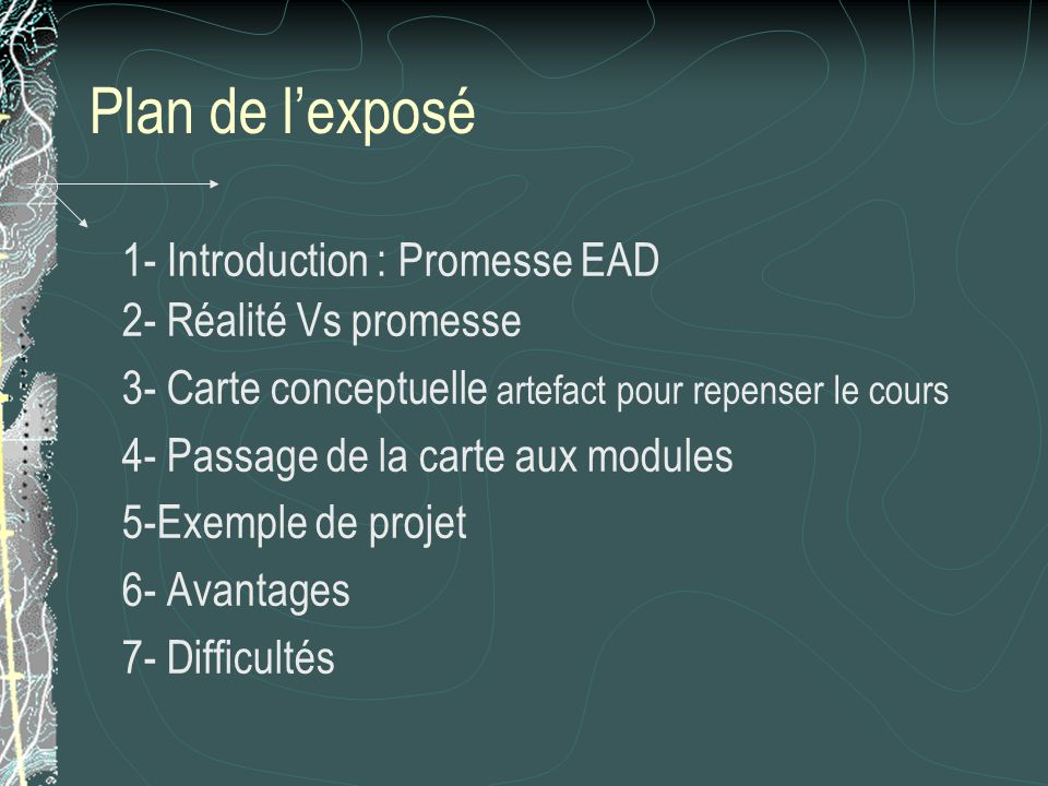 Plan de l'exposé 1- Introduction : Promesse EAD 2- Réalité Vs promesse