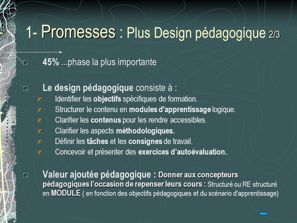 1- Promesses : Plus Design pédagogique 2/3