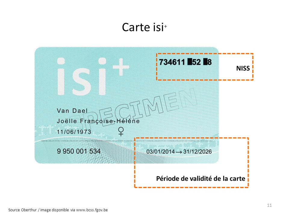 Carte isi+ Source Oberthur / image disponible via www.bcss.fgov.be