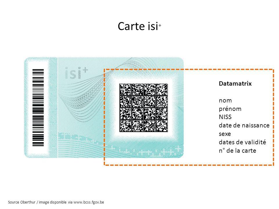 Carte isi+ Datamatrix nom prénom NISS date de naissance sexe