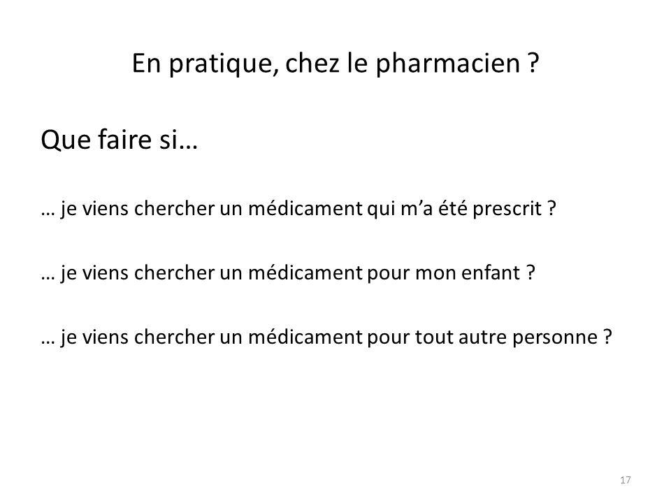 En pratique, chez le pharmacien