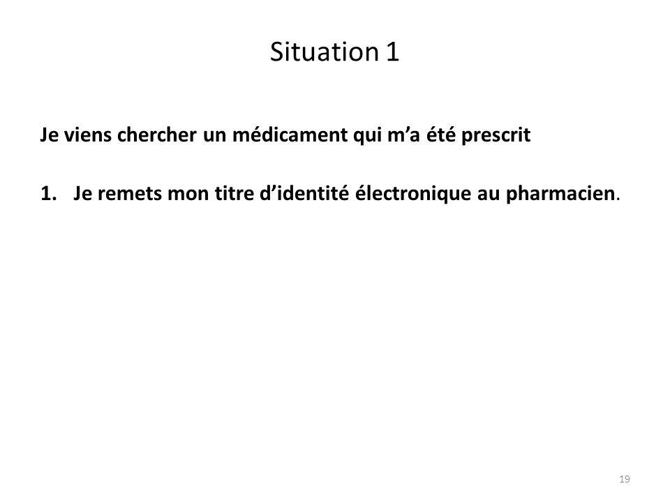 Situation 1 Je viens chercher un médicament qui m'a été prescrit