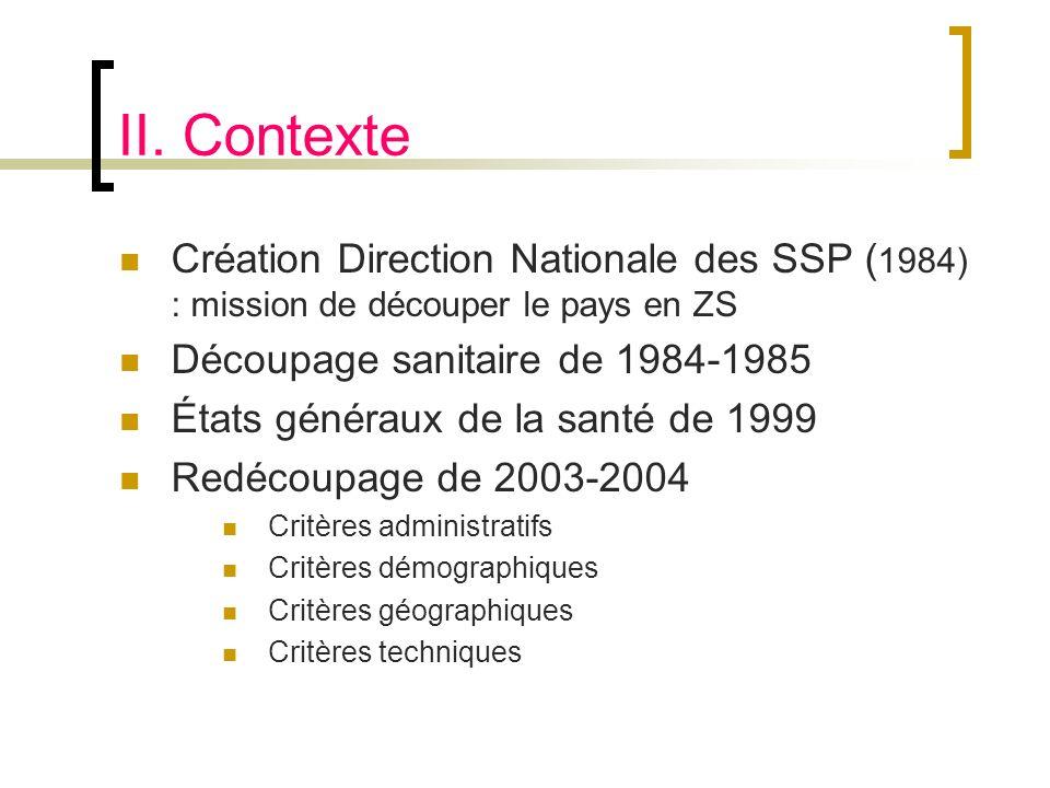II. Contexte Création Direction Nationale des SSP (1984) : mission de découper le pays en ZS. Découpage sanitaire de 1984-1985.