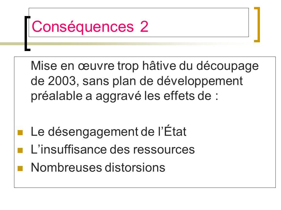 Conséquences 2 Mise en œuvre trop hâtive du découpage de 2003, sans plan de développement préalable a aggravé les effets de :