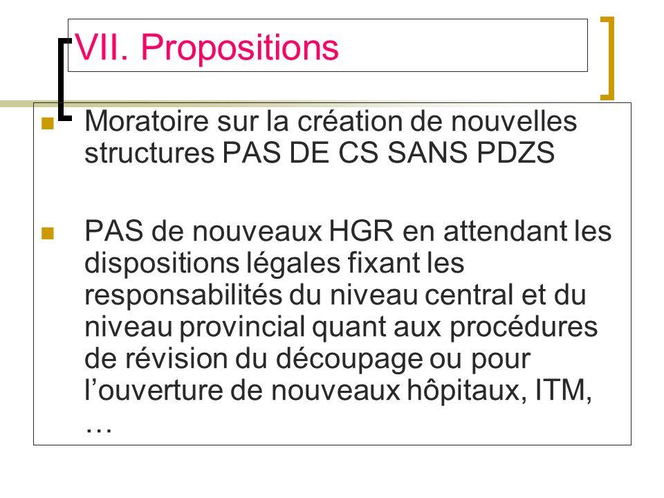 VII. Propositions Moratoire sur la création de nouvelles structures PAS DE CS SANS PDZS.