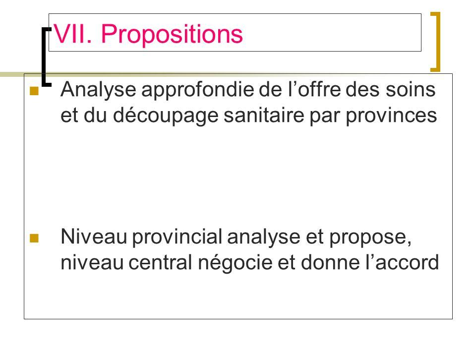 VII. Propositions Analyse approfondie de l'offre des soins et du découpage sanitaire par provinces.