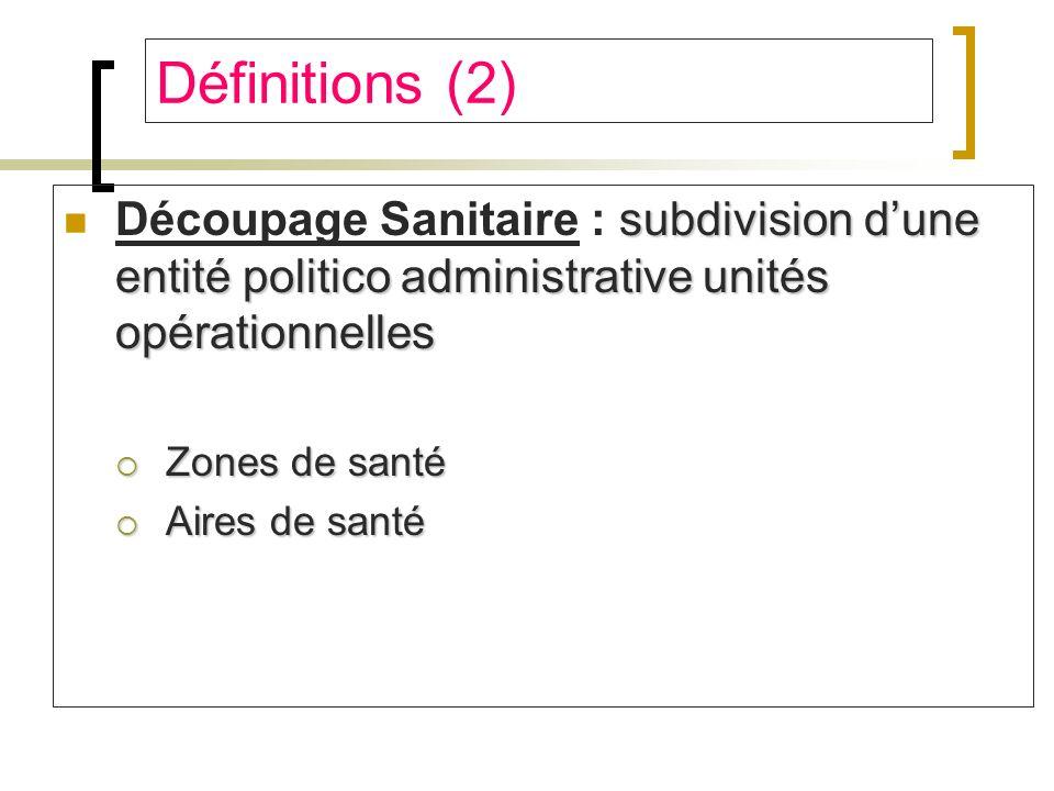 Définitions (2) Découpage Sanitaire : subdivision d'une entité politico administrative unités opérationnelles.