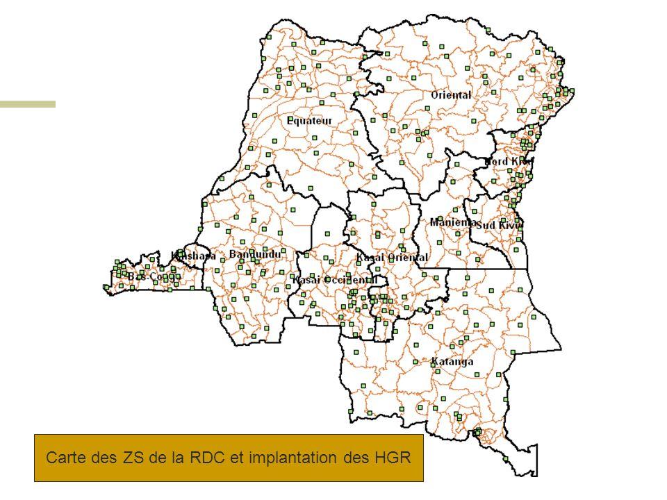 Carte des ZS de la RDC et implantation des HGR