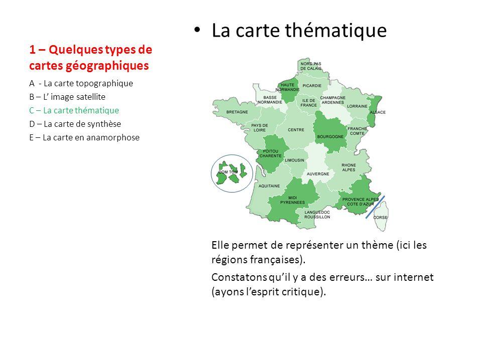 1 – Quelques types de cartes géographiques