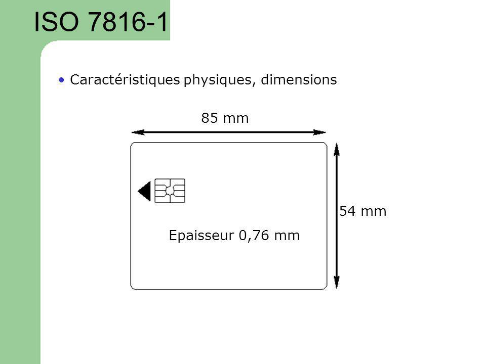 ISO 7816-1 • Caractéristiques physiques, dimensions 85 mm 54 mm