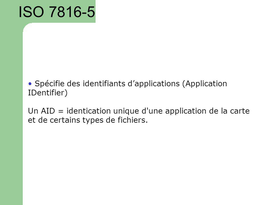 ISO 7816-5 • Spécifie des identifiants d'applications (Application IDentifier) Un AID = identication unique d une application de la carte.