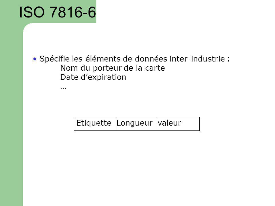 ISO 7816-6 • Spécifie les éléments de données inter-industrie :