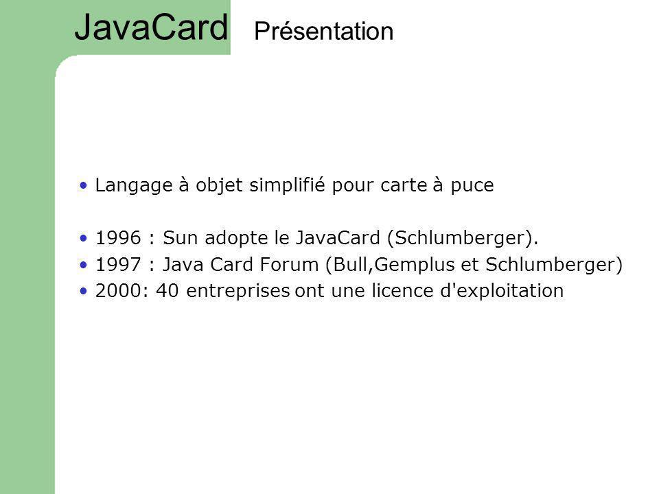 JavaCard Présentation • Langage à objet simplifié pour carte à puce