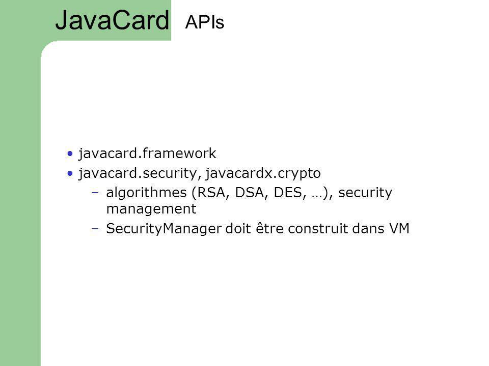 JavaCard APIs • javacard.framework