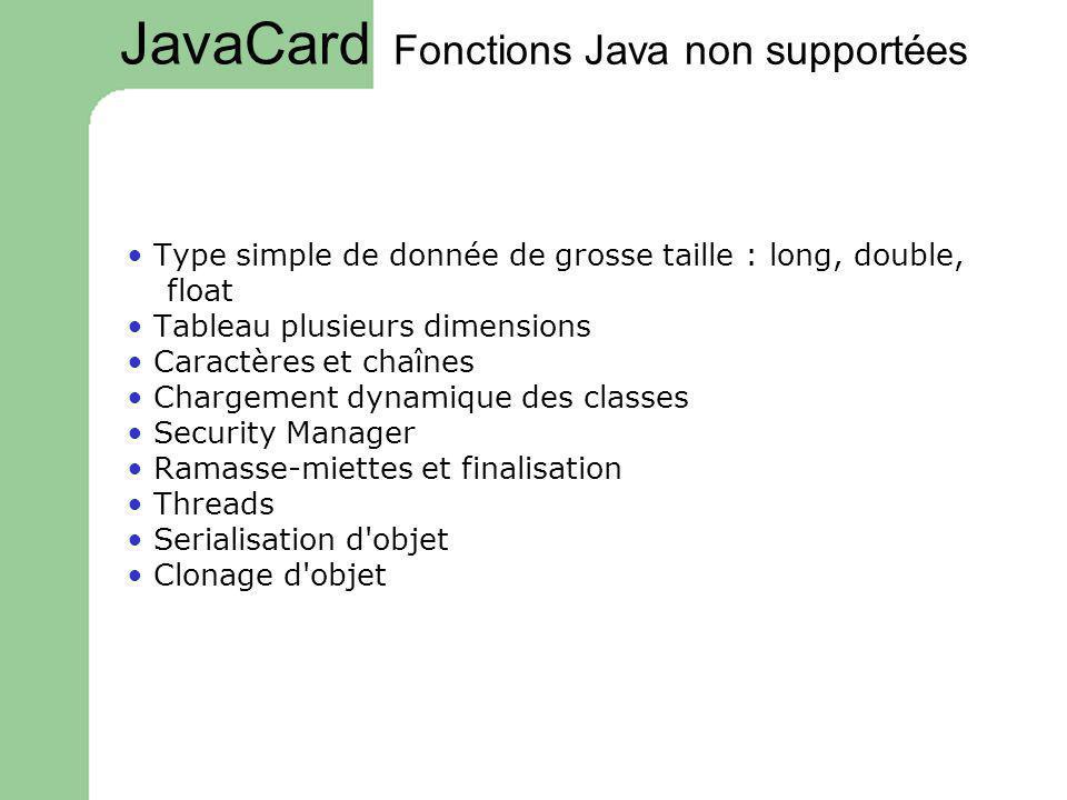Fonctions Java non supportées