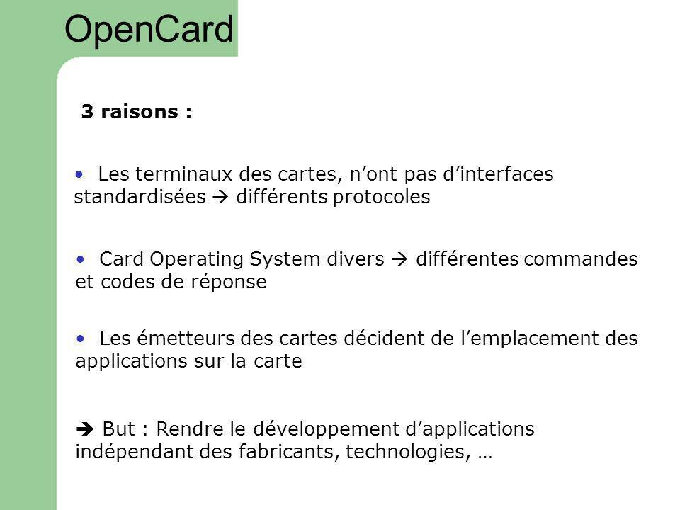 OpenCard 3 raisons : • Les terminaux des cartes, n'ont pas d'interfaces standardisées  différents protocoles.
