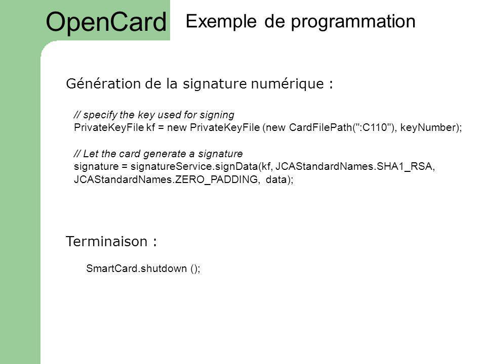 OpenCard Exemple de programmation