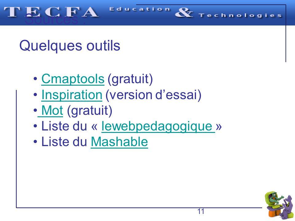 Sources : Quelques outils Cmaptools (gratuit)