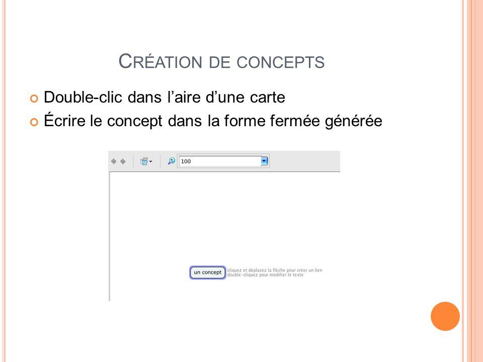 Création de concepts Double-clic dans l'aire d'une carte