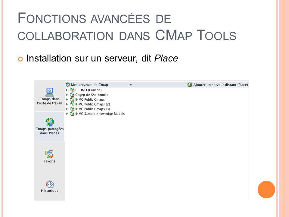 Fonctions avancées de collaboration dans CMap Tools