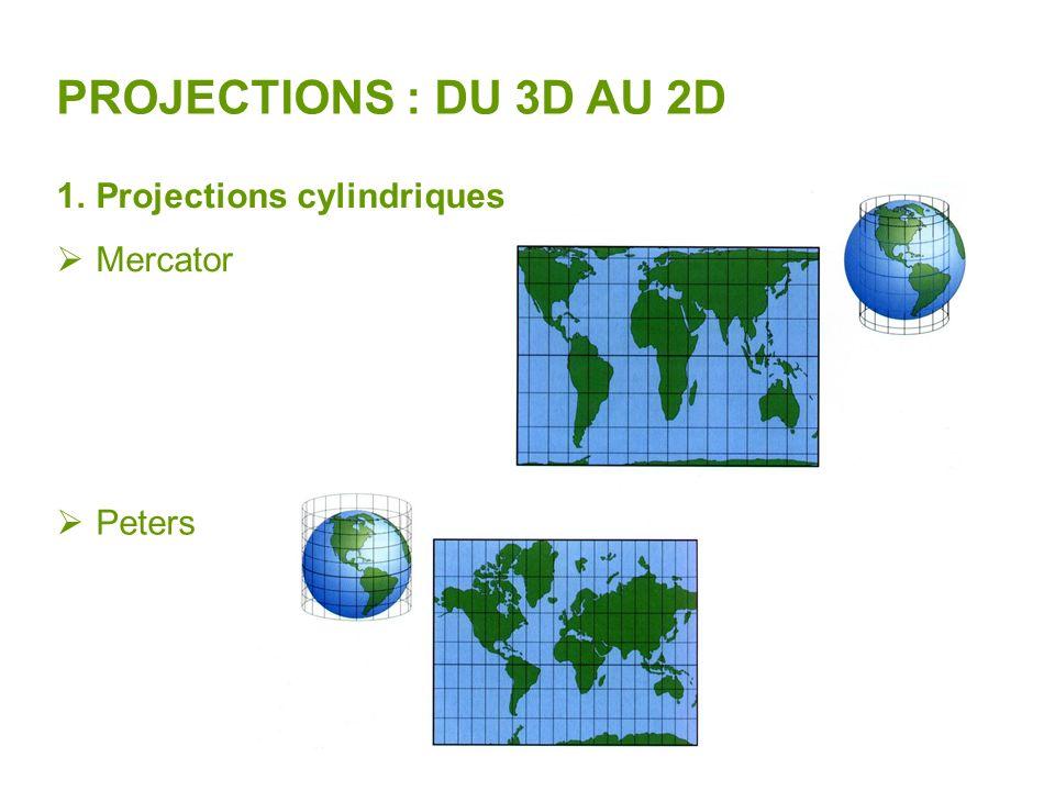 PROJECTIONS : DU 3D AU 2D Projections cylindriques Mercator Peters
