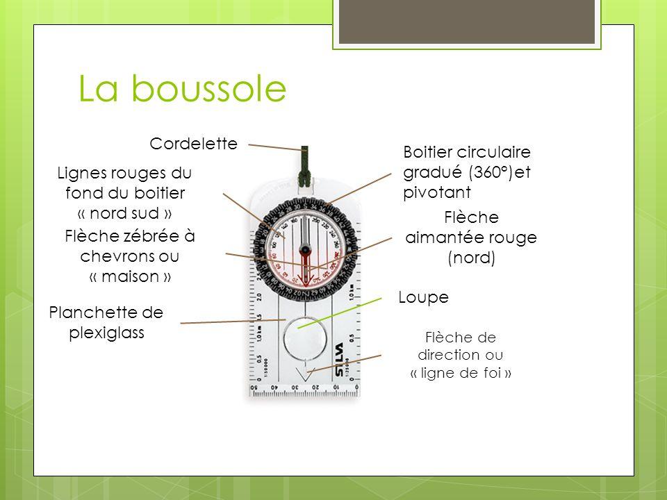 La boussole Cordelette Boitier circulaire gradué (360°)et pivotant