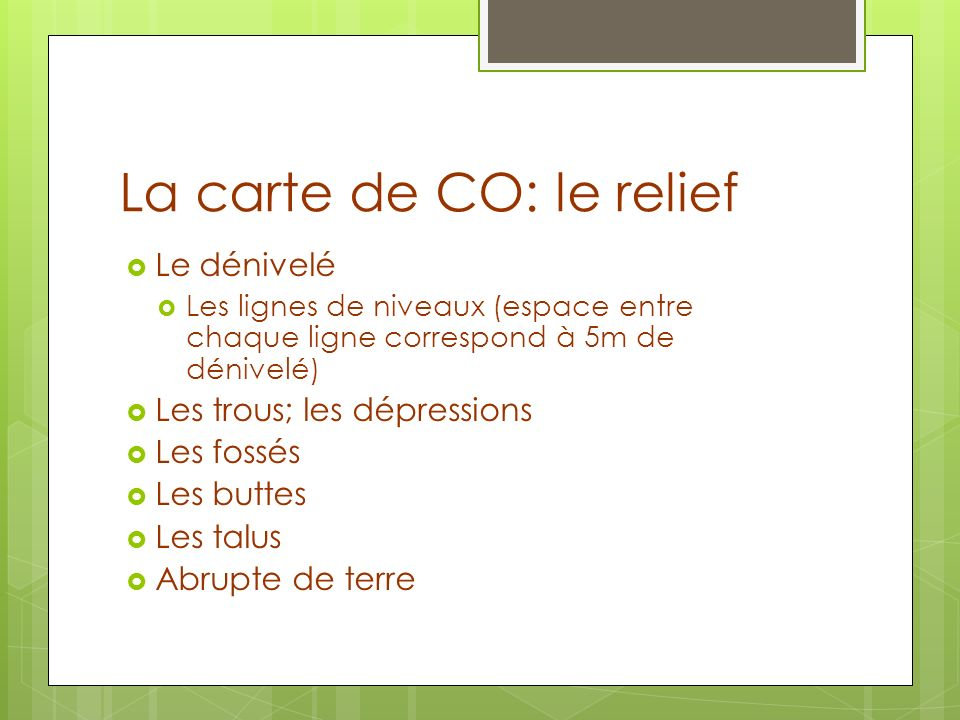 La carte de CO: le relief