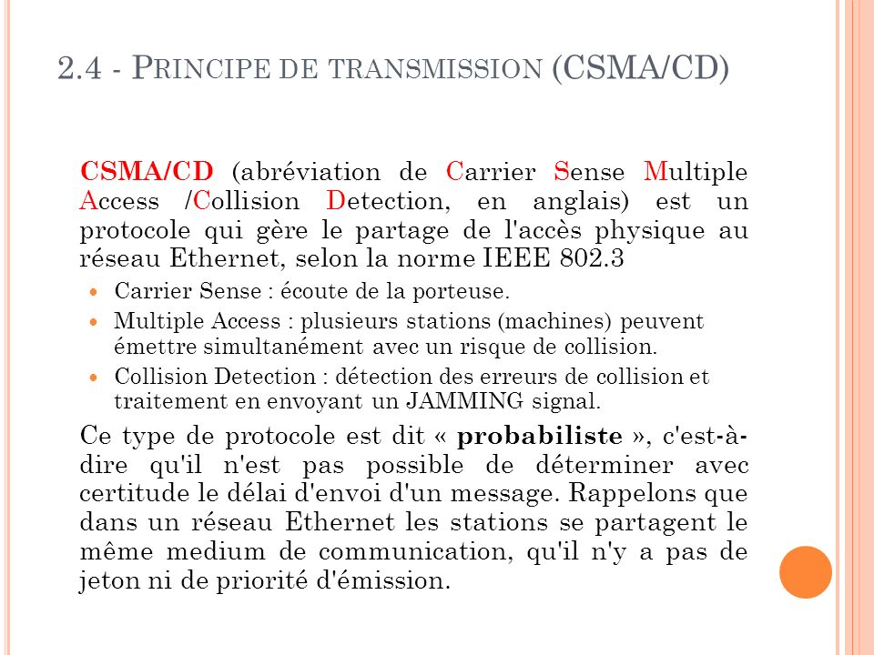 2.4 - Principe de transmission (CSMA/CD)