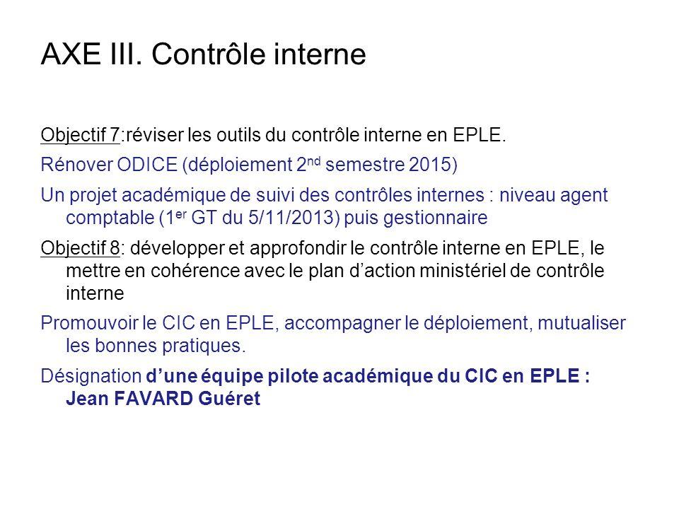 AXE III. Contrôle interne