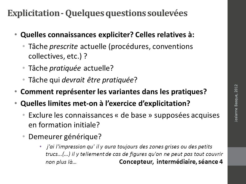 Explicitation - Quelques questions soulevées