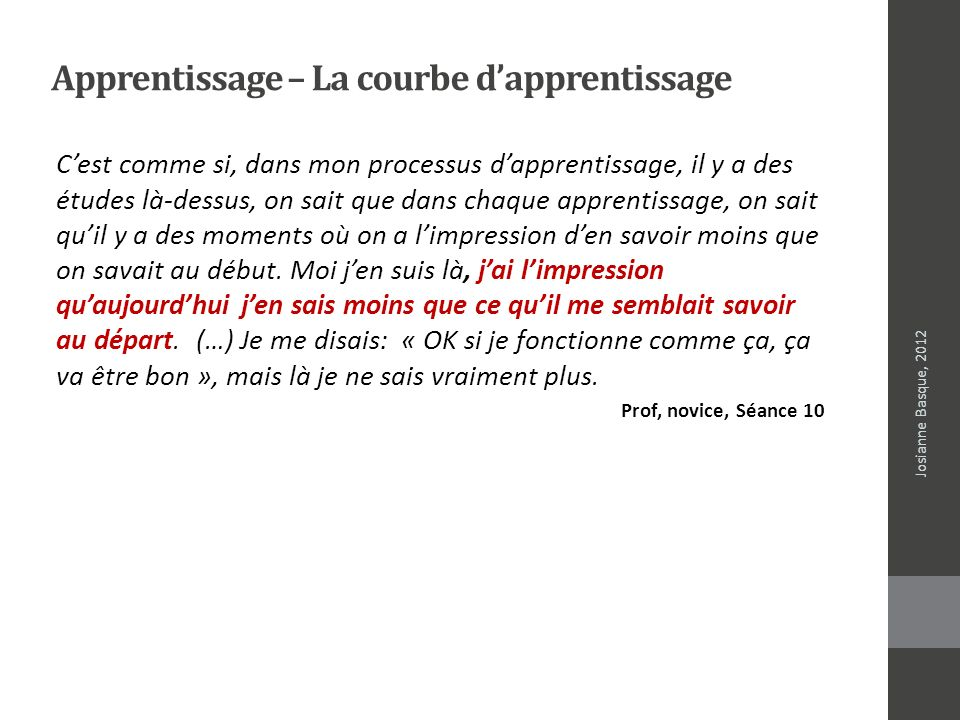 Apprentissage – La courbe d'apprentissage