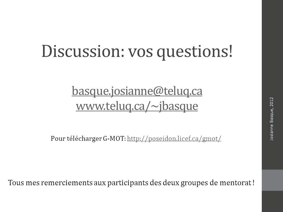 Discussion: vos questions. basque. josianne@teluq. ca www. teluq