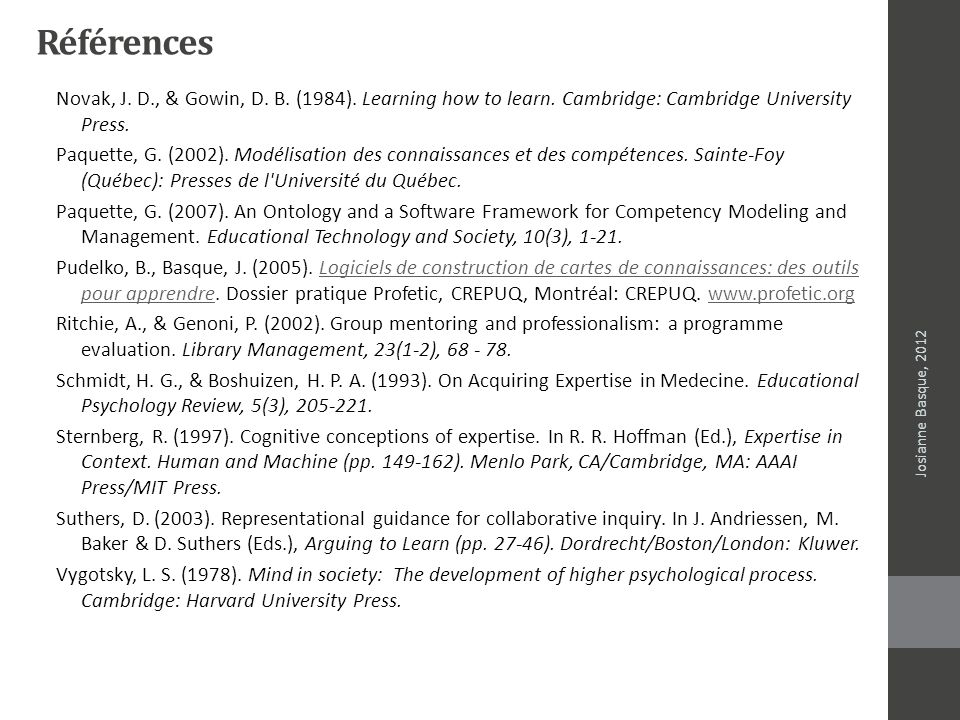 Références Novak, J. D., & Gowin, D. B. (1984). Learning how to learn. Cambridge: Cambridge University Press.