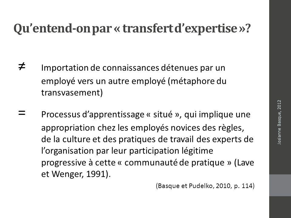 Qu'entend-on par « transfert d'expertise »