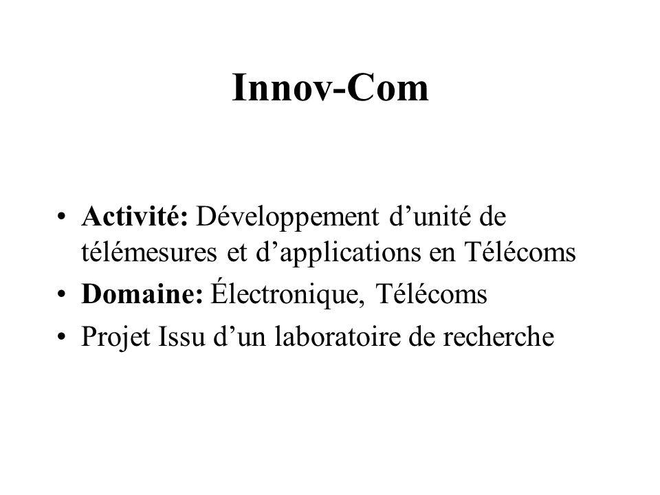 Innov-Com Activité: Développement d'unité de télémesures et d'applications en Télécoms. Domaine: Électronique, Télécoms.