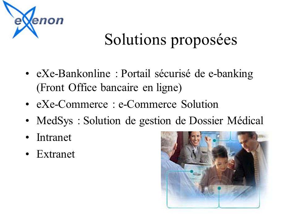 Solutions proposées eXe-Bankonline : Portail sécurisé de e-banking (Front Office bancaire en ligne)