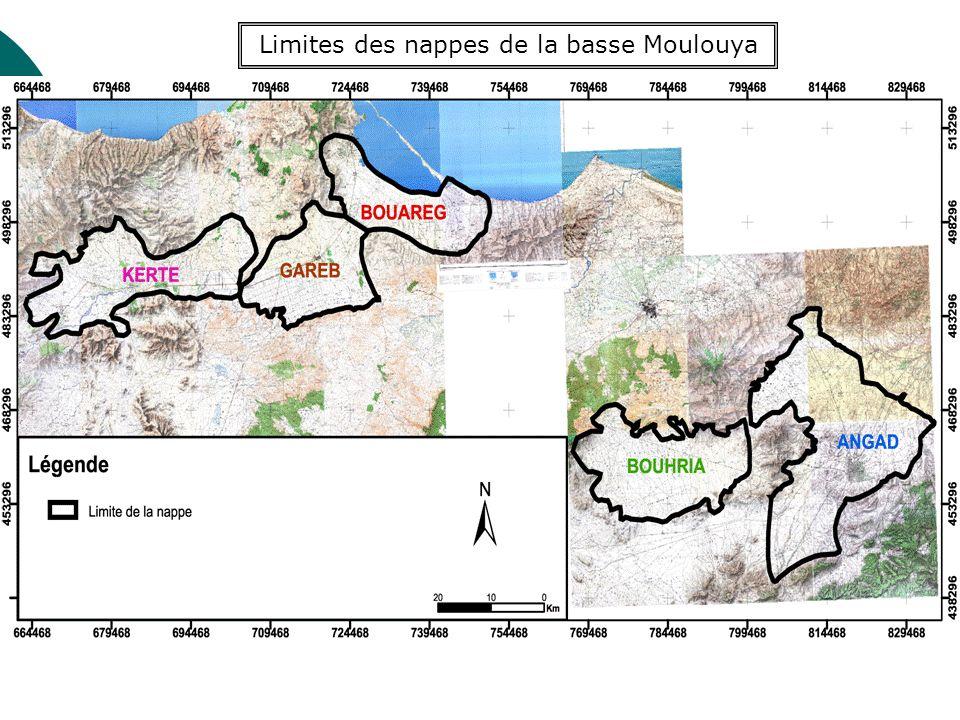 Limites des nappes de la basse Moulouya