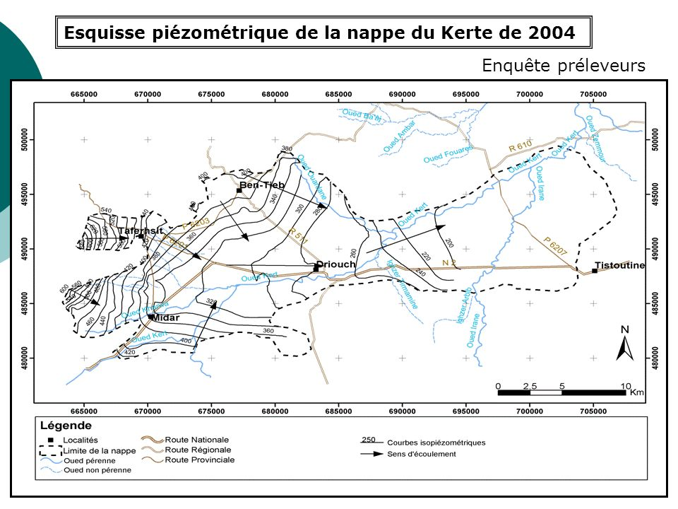 Esquisse piézométrique de la nappe du Kerte de 2004