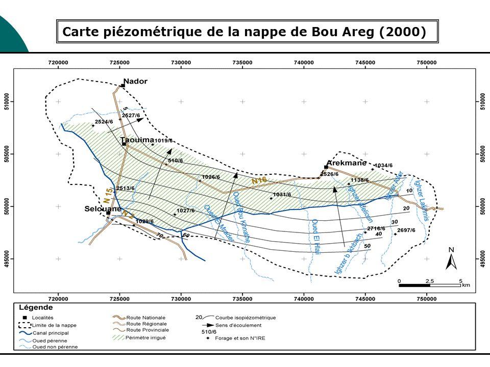 Carte piézométrique de la nappe de Bou Areg (2000)
