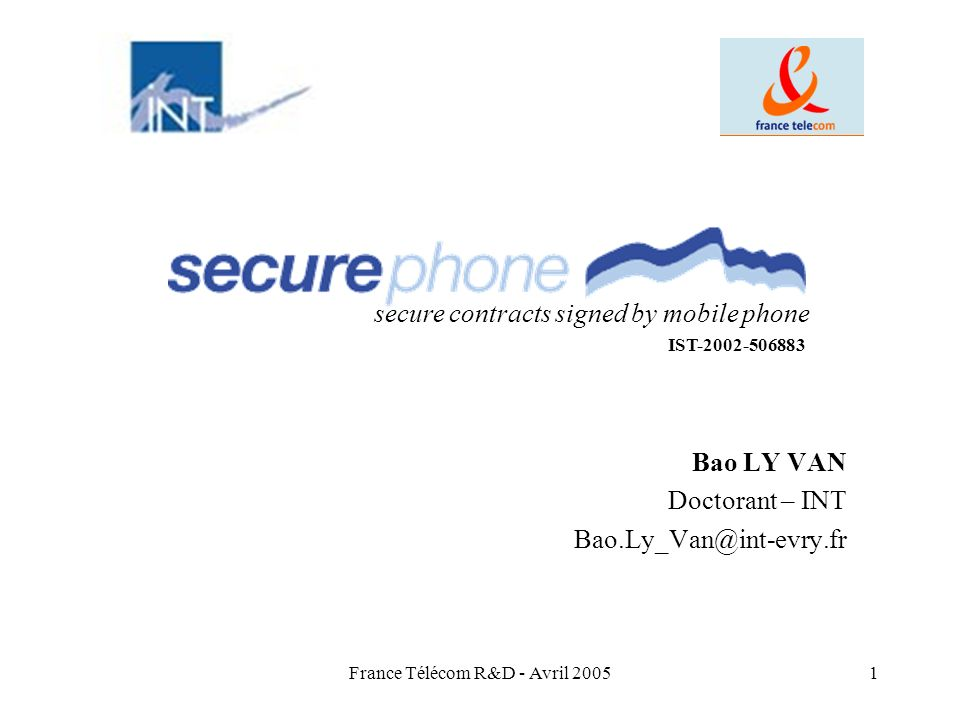 Bao LY VAN Doctorant – INT Bao.Ly_Van@int-evry.fr