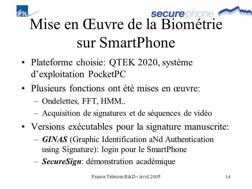 Mise en Œuvre de la Biométrie sur SmartPhone