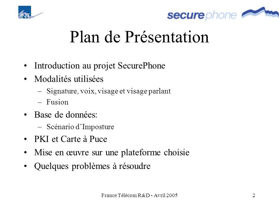 France Télécom R&D - Avril 2005