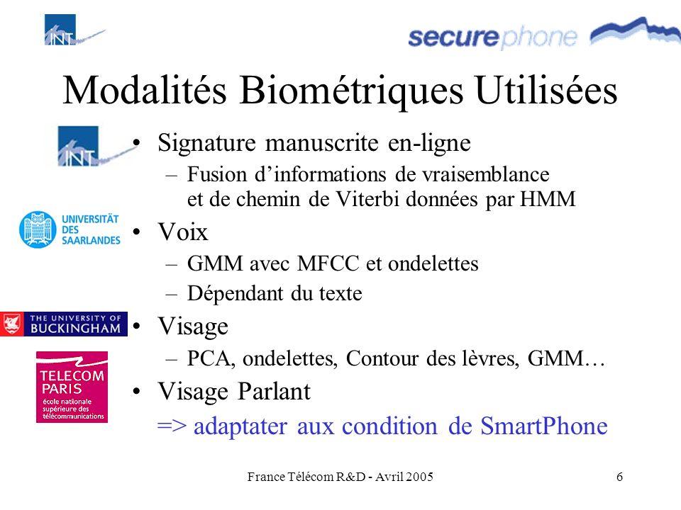 Modalités Biométriques Utilisées