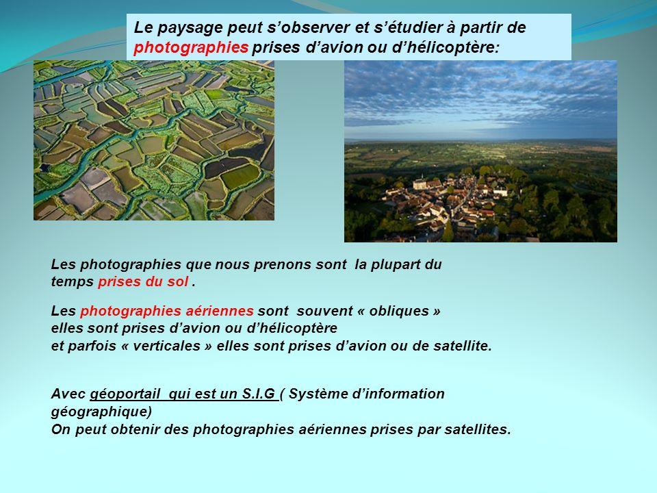 Le paysage peut s'observer et s'étudier à partir de photographies prises d'avion ou d'hélicoptère: