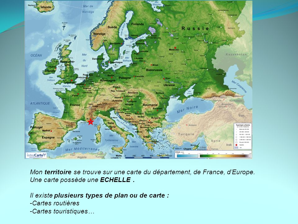 Mon territoire se trouve sur une carte du département, de France, d'Europe.