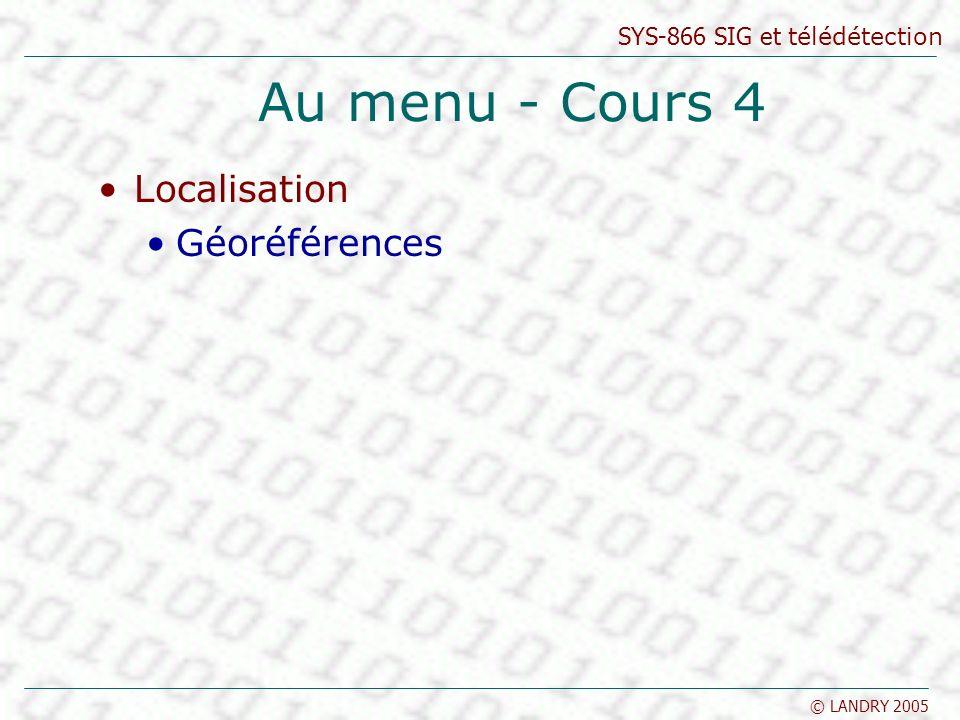 Au menu - Cours 4 Localisation Géoréférences