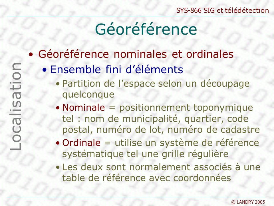 Géoréférence Localisation Géoréférence nominales et ordinales